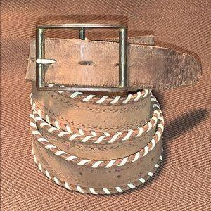 Vintage leather woven details belt w/extra holes